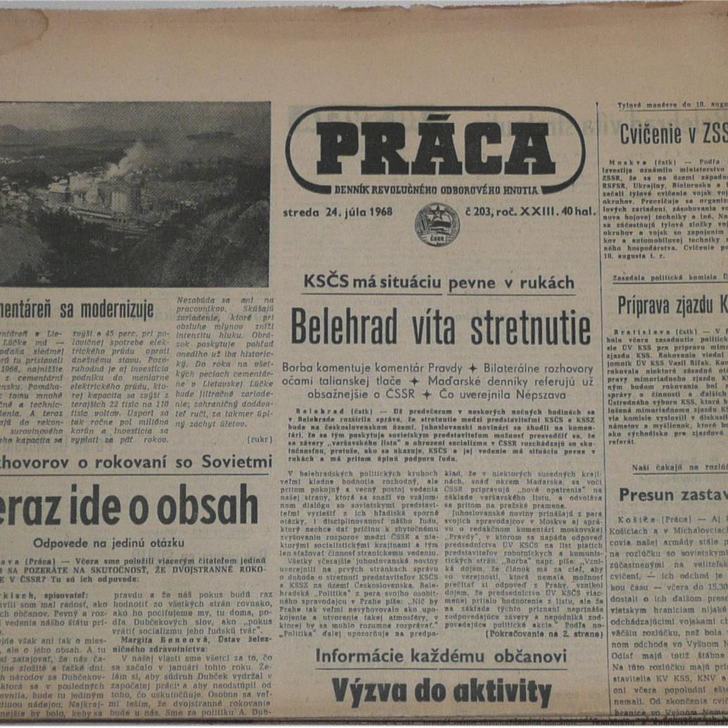 Noviny PRACA od 20.7.1968 do 20.08.1968 dobrý stav