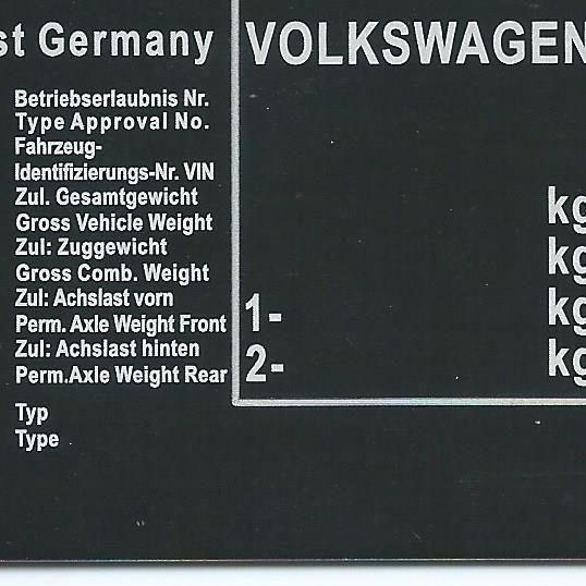 Štítok na Volkswagen