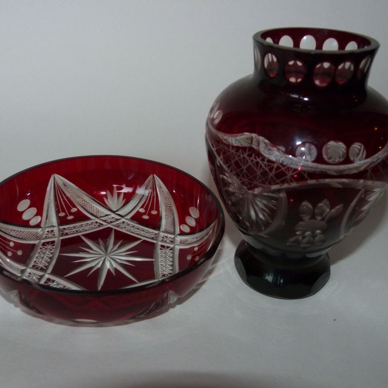 Váza rubínové sklo + miska EGERMANN